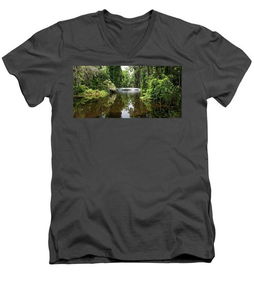 Men's V-Neck T-Shirt featuring the photograph Bridge In The Garden by Sandy Keeton