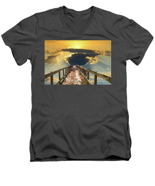 Bridge Into Sunset Men's V-Neck T-Shirt by Inspirational Photo Creations Audrey Woods