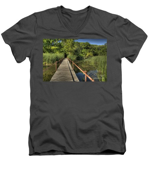 Bridge Into The Forest At Lake Murray Men's V-Neck T-Shirt by Tamyra Ayles