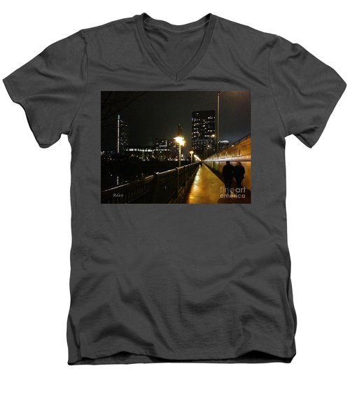 Men's V-Neck T-Shirt featuring the photograph Bridge Into The Night by Felipe Adan Lerma