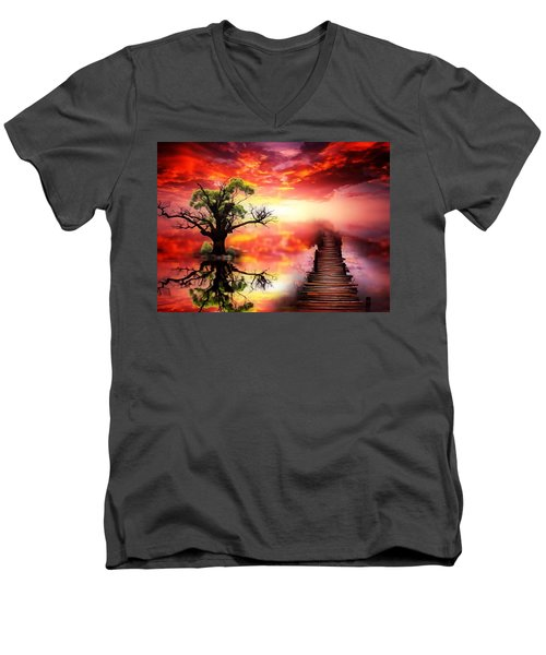 Bridge Into The Unknown Men's V-Neck T-Shirt by Gabriella Weninger - David