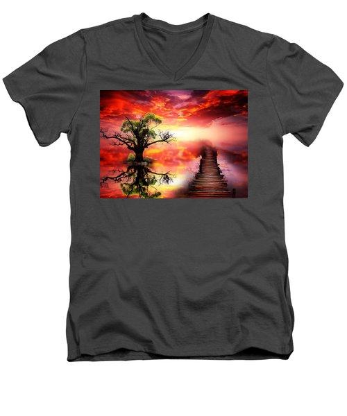 Bridge Into The Unknown Men's V-Neck T-Shirt