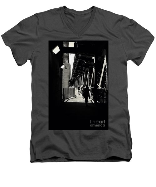 Bridge - Lower Lake Shore Drive At Navy Pier Chicago. Men's V-Neck T-Shirt