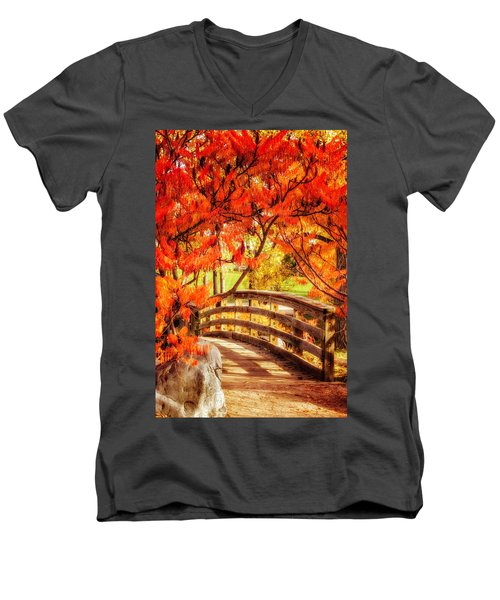 Bridge Of Fall Men's V-Neck T-Shirt by Kristal Kraft