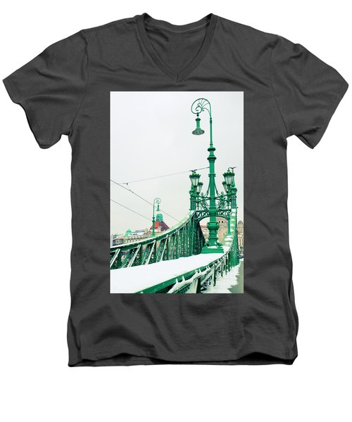 Bridge Of Liberty In Budapest Men's V-Neck T-Shirt