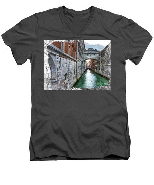 Bridge Of Sighs Men's V-Neck T-Shirt by Tom Cameron