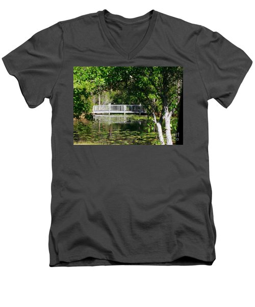 Men's V-Neck T-Shirt featuring the photograph Bridge On Lilly Pond by Lori Mellen-Pagliaro