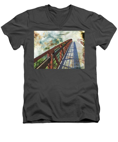 Bridge Over Clouds Men's V-Neck T-Shirt by Deborah Nakano