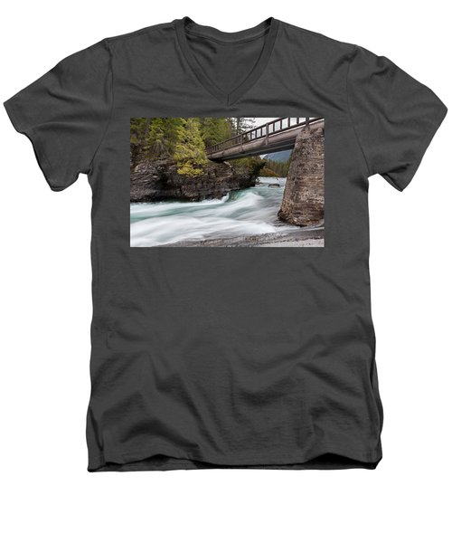Men's V-Neck T-Shirt featuring the photograph Bridge Over Troubled Water by Fran Riley