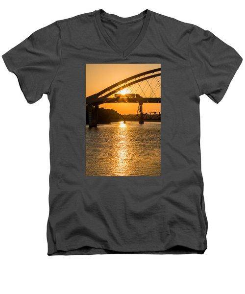 Bridge Sunrise 2 Men's V-Neck T-Shirt by Patti Deters