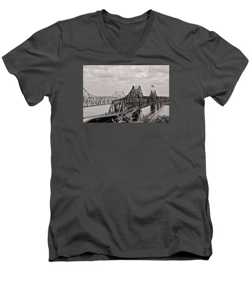 Bridges At Vicksburg Mississippi Men's V-Neck T-Shirt by Don Spenner