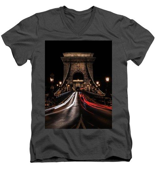 Bridges Of Budapest - Chain Bridge Men's V-Neck T-Shirt by Jaroslaw Blaminsky