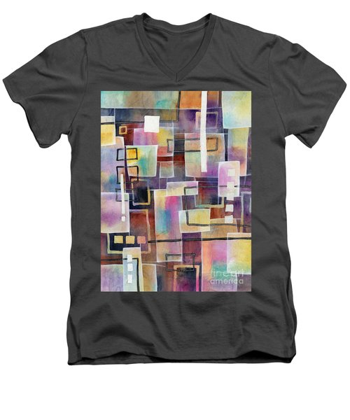 Men's V-Neck T-Shirt featuring the painting Bridging Gaps by Hailey E Herrera