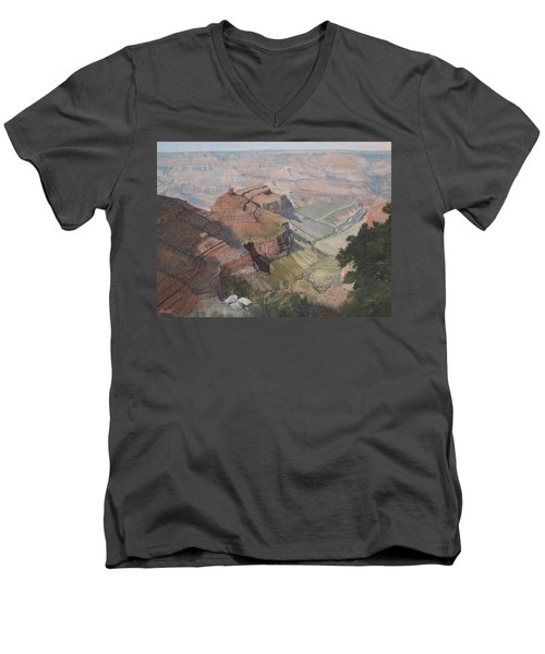 Bright Angel Trail Looking North To Plateau Point, Grand Canyon Men's V-Neck T-Shirt by Barbara Barber