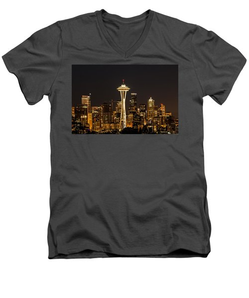 Bright At Night - Space Needle Men's V-Neck T-Shirt by E Faithe Lester