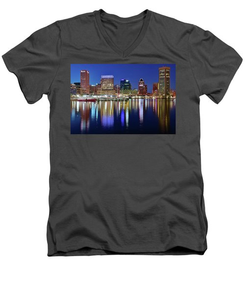 Men's V-Neck T-Shirt featuring the photograph Bright Blue Baltimore Night by Frozen in Time Fine Art Photography
