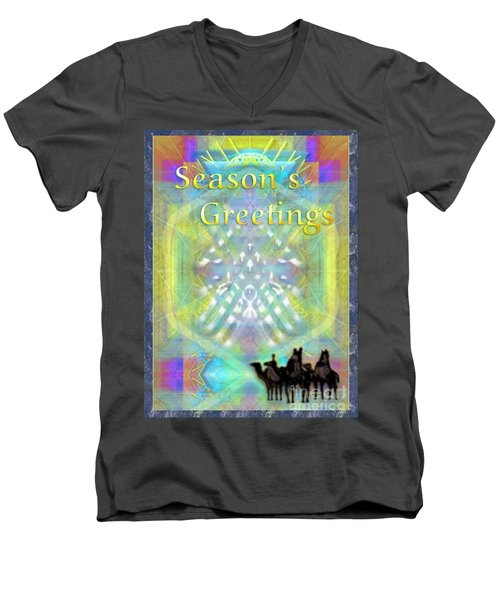 Men's V-Neck T-Shirt featuring the digital art Bright Chalice Tree N 3 Kings by Christopher Pringer