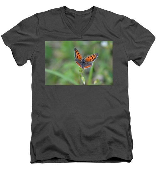 Bright Copper Men's V-Neck T-Shirt by Janet Rockburn