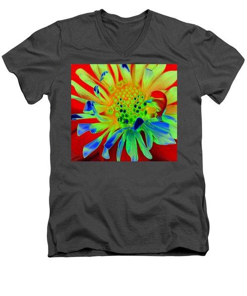 Bright Flower Men's V-Neck T-Shirt by Diane E Berry
