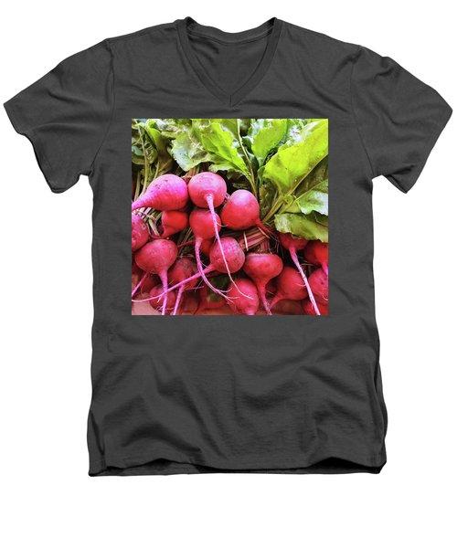Bright Fresh Radish Men's V-Neck T-Shirt by GoodMood Art