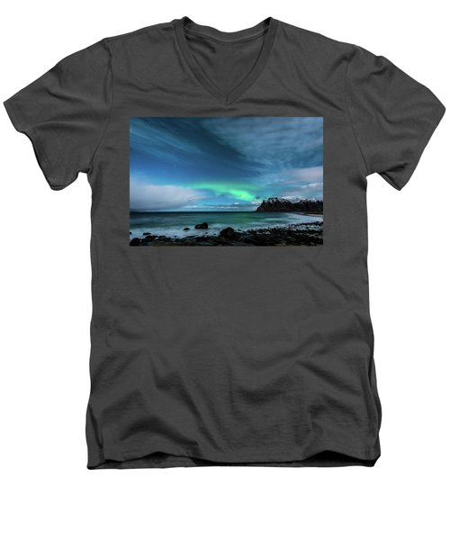 Men's V-Neck T-Shirt featuring the photograph Bright Night by Alex Lapidus