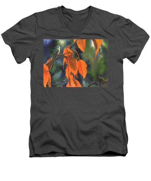 Bright Orange Leaves Men's V-Neck T-Shirt
