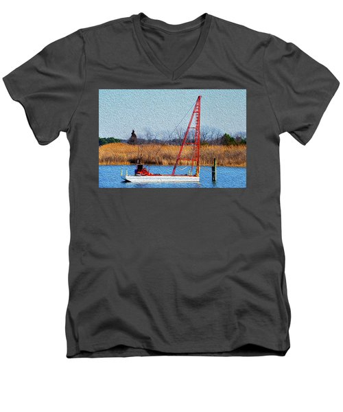Bright Paintery Barge Men's V-Neck T-Shirt