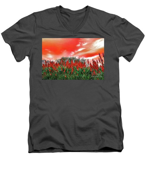 Men's V-Neck T-Shirt featuring the photograph Bright Red Aloe Flowers By Kaye Menner by Kaye Menner