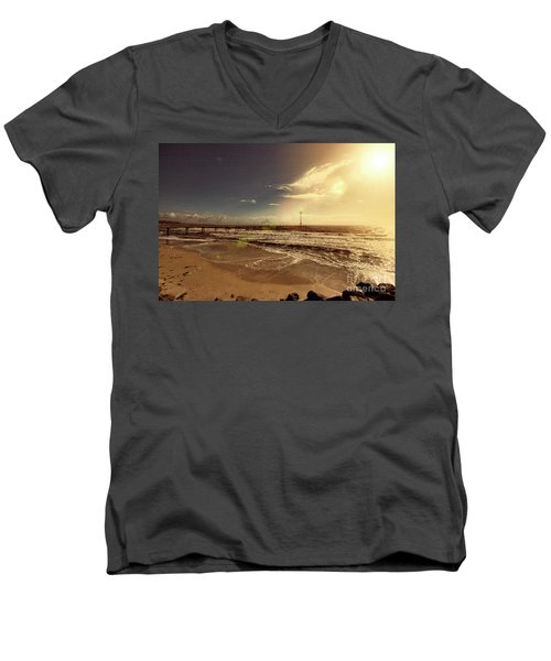 Men's V-Neck T-Shirt featuring the photograph Brighton Beach Pier by Douglas Barnard
