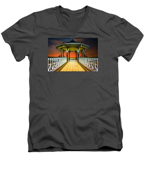 Men's V-Neck T-Shirt featuring the photograph Brighton's Promenade Bandstand by Chris Lord