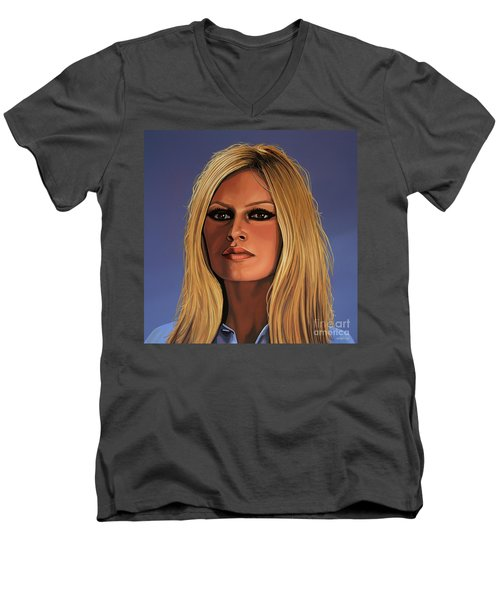 Brigitte Bardot 3 Men's V-Neck T-Shirt by Paul Meijering
