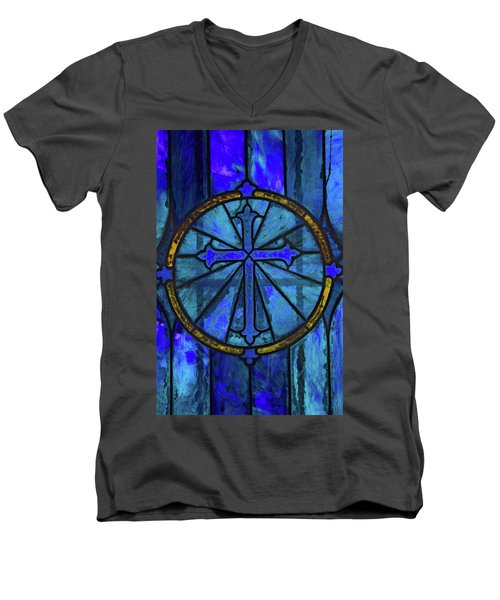Brillant Blue Men's V-Neck T-Shirt by Rowana Ray