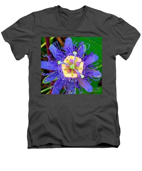 Brilliant Blue Flower Men's V-Neck T-Shirt