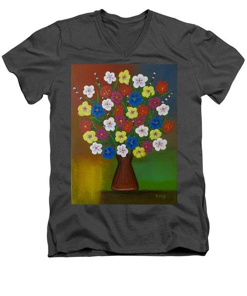 Brilliant Bouquet Men's V-Neck T-Shirt by Teresa Wing