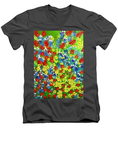 Brilliant Florals Men's V-Neck T-Shirt by George Riney