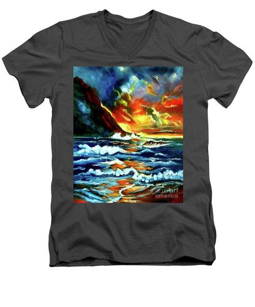 Brilliant Hawaiian Sunset Men's V-Neck T-Shirt