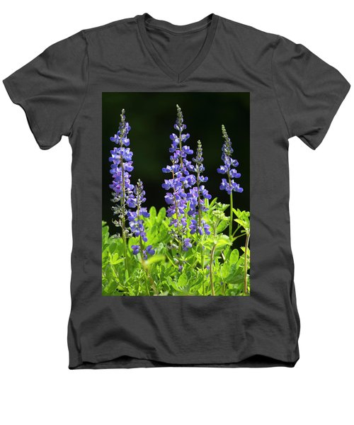 Men's V-Neck T-Shirt featuring the photograph Brilliant Lupines by Elvira Butler