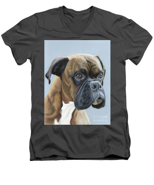 Men's V-Neck T-Shirt featuring the painting Brindle Boxer Dog - Jack by Donna Mulley