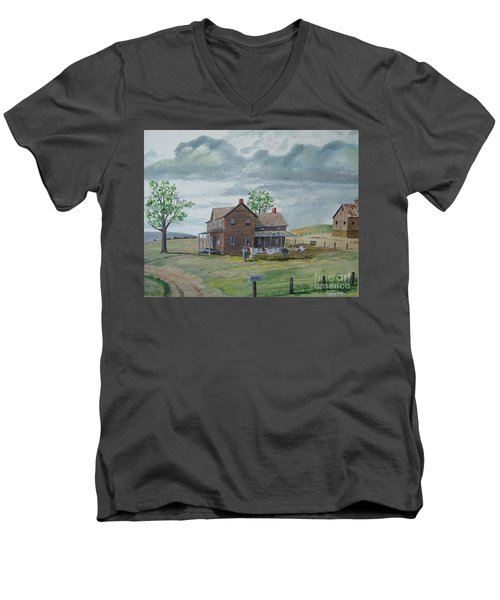 Bringing In The Clothes Men's V-Neck T-Shirt by Norm Starks