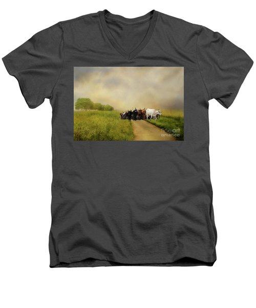 Bringing The Herd Home Men's V-Neck T-Shirt by Myrna Bradshaw