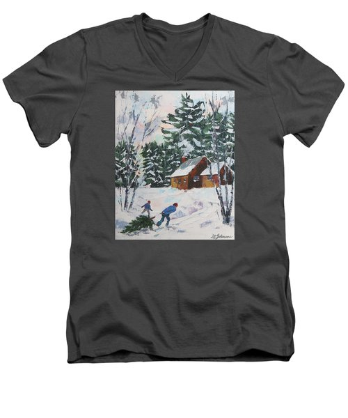 Bringing In The Tree Men's V-Neck T-Shirt by David Gilmore