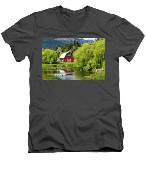 Brinnon Washington Barn Men's V-Neck T-Shirt by Teri Virbickis