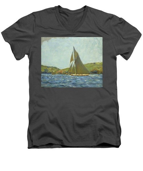 Men's V-Neck T-Shirt featuring the painting Britannia by Henry Scott Tuke