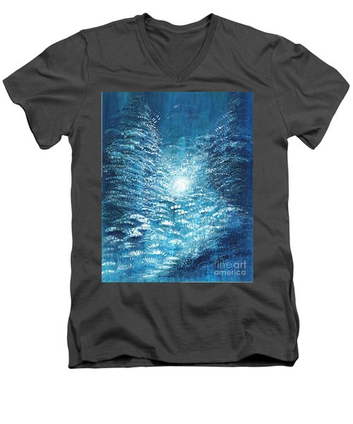 Men's V-Neck T-Shirt featuring the painting Brite Nite by Holly Carmichael
