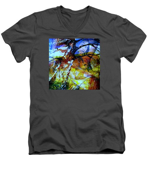Men's V-Neck T-Shirt featuring the mixed media Britney by Fania Simon