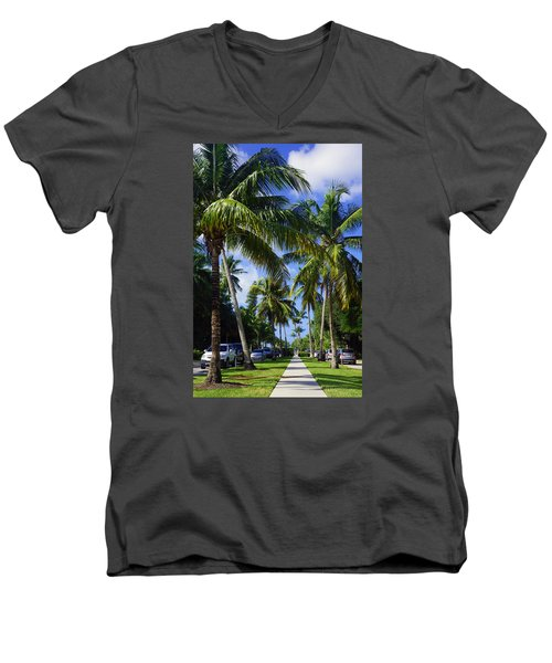 Men's V-Neck T-Shirt featuring the photograph Broad Avenue South, Old Naples by Robb Stan