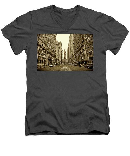 Broad Street Facing Philadelphia City Hall In Sepia Men's V-Neck T-Shirt