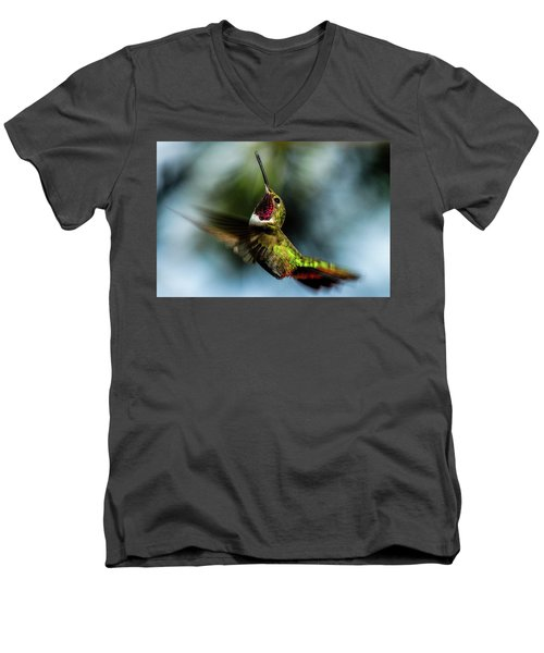 Broad-tailed Hummingbird In Flight Men's V-Neck T-Shirt by Marilyn Burton