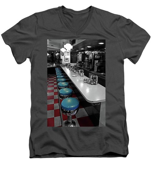 Broadway Diner Chairs Men's V-Neck T-Shirt by Christopher McKenzie