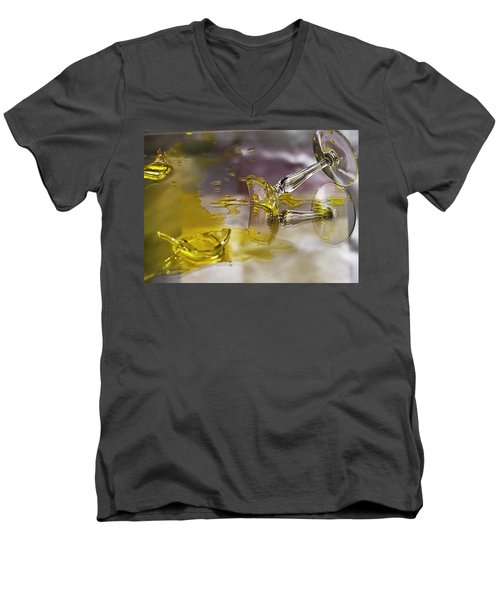 Men's V-Neck T-Shirt featuring the photograph Broken Glass by Susan Capuano